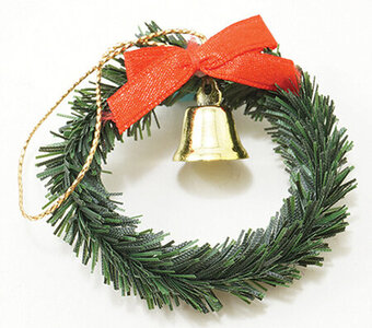 Christmas Wreath with Bell - Dollhouse Miniature