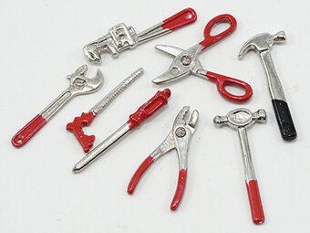 Tool Set - 8 Pieces - Dollhouse Miniature