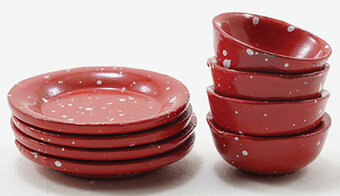 Red Enamelware Dishes - 8 Pieces - Dollhouse Miniature