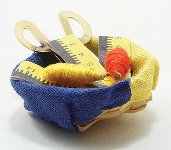 Basket with Thread Ruler Scissors - Dollhouse Miniature