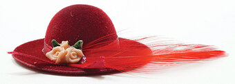 Red Hat With Feather - Dollhouse Miniature