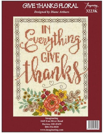 Give Thanks Floral - Thanksgiving Counted Cross Stitch Kit