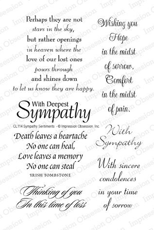 Impression Obsession Sympathy Sentiments Clear Stamp