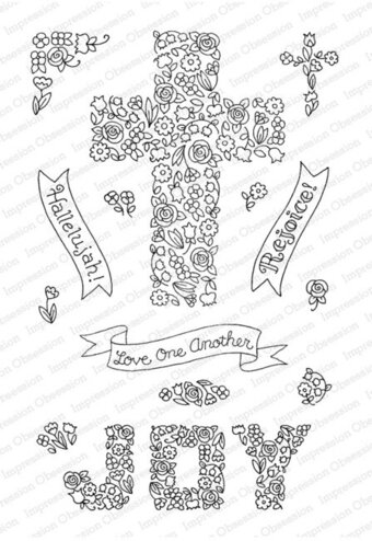 Cross of Flowers - Christian Clear Stamp