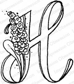 Floral H - Cling Stamp