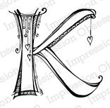 Letter K Monogram - Cling Rubber Stamp