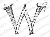 Monogram Letter W - Cling Rubber Stamp