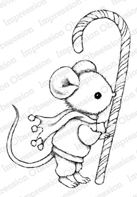 Candy Cane Mouse - Christmas Cling Stamp