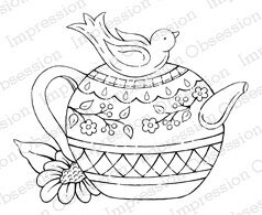 Bird Teapot - Cling Rubber Stamp