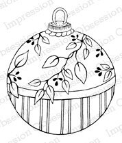 Leaf Ornament - Christmas Cling Rubber Stamp