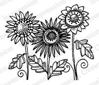 Sunflower Trio - Cling Rubber Stamp