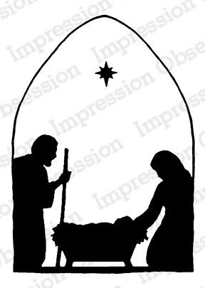 Lantern Window Nativity - Christmas Cling Rubber Stamp