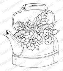 Tea Kettle Succulent - Cling Rubber Stamp