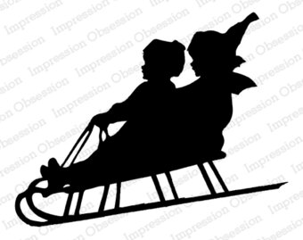 Sled Silhouette - Christmas Cling Stamp