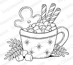 Hot Chocolate Delight - Cling Rubber Stamp