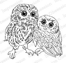 Two Owls - Cling Rubber Stamp