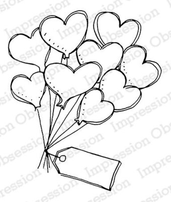 Floating Hearts - Cling Stamp