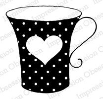 Dotted Heart Cup - Cling Rubber Stamp