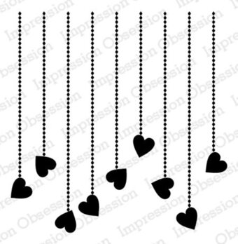 Dangling Hearts - Cling Stamp