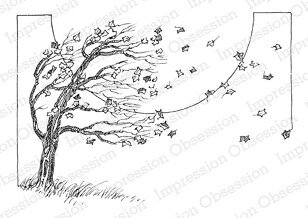 Tree in Wind - Cling Rubber Stamp