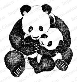 Panda Hug - Wood Mounted Rubber Stamp