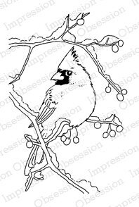 Snowy Branch Cardinal - Cling Rubber Stamp