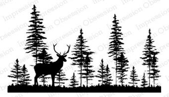 Deer in Forest - Cling Rubber Stamp