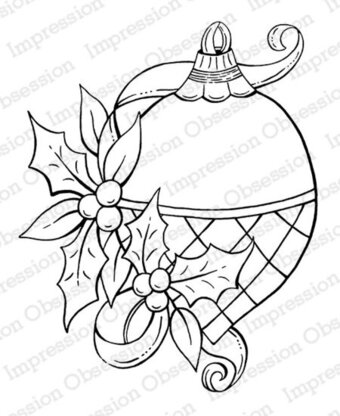 Holly Ornament - Christmas Cling Stamp