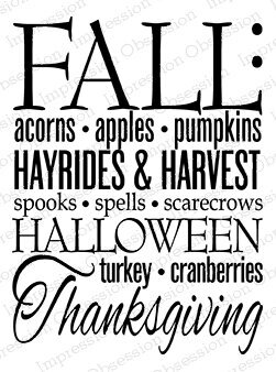Fall Words 2 - Cling Rubber Stamp