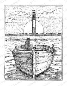 Oak Island Lighthouse - Cling Rubber Stamp