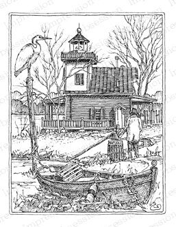 Roanoke River Lighthouse - Cling Rubber Stamp