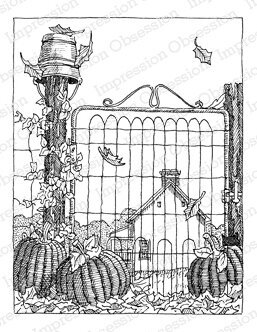 Pumpkin Gate - Cling Rubber Stamp