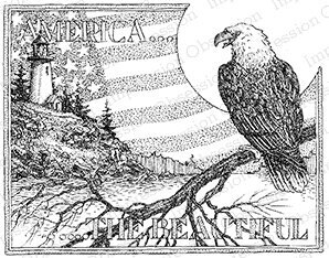 America - Cling Rubber Stamp