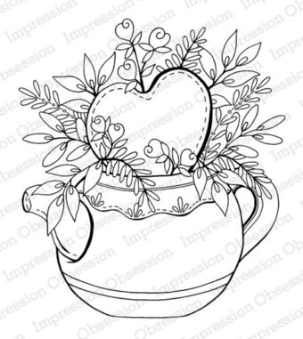 Heart Teapot - Cling Stamp