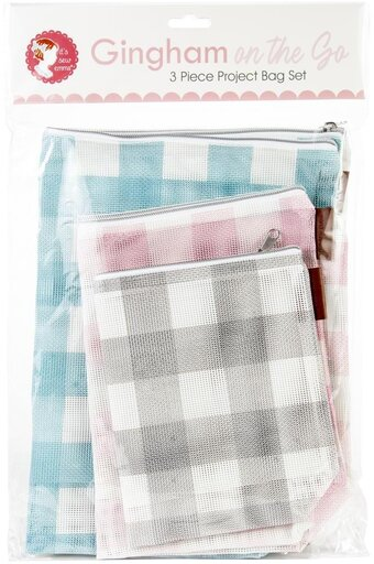 Gingham Mesh Project Bag - 3 Sizes - Its Sew Emma