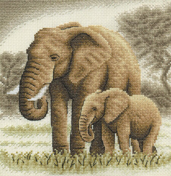 Elephants - Golden Series Cross Stitch Kit