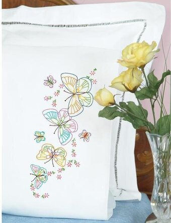 Fluttering Butterflies Perle Edge Pillowcases - Embroidery