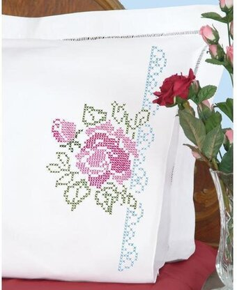 Roses Perle Edge Pillowcases - Stamped Cross Stitch Kit