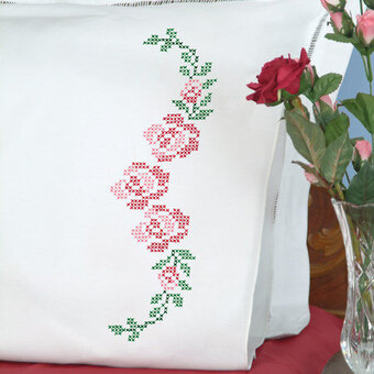 Rose Vine Pillowcases - Stamped Cross Stitch Kit
