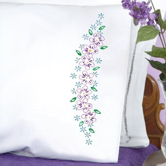 Lavender Flowers Pillowcase - Stamped Embroidery Kit