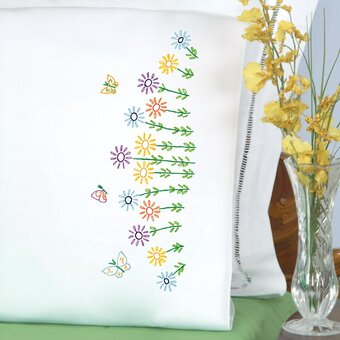 Field Of Flowers Pillowcase - Stamped Embroidery Kit