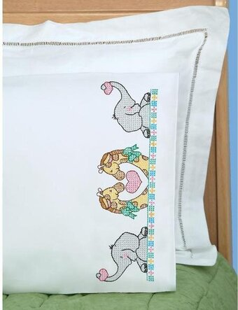 Noah's Ark Children's Pillowcase - Stamped Cross Stitch Kit