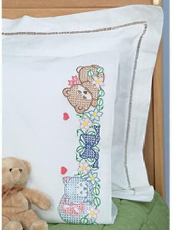 Embroidery Designs Baby Pillow Cases: Jack Dempsey Needle Art Sleeping Friends Pillowcase   Stamped    ,