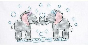 Elephants Children's Pillowcase - Stamped Cross Stitch Kit