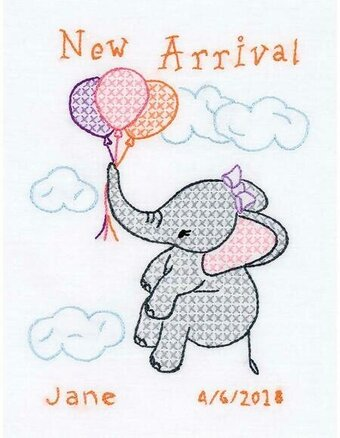 Elephant Birth Sampler - Stamped Cross Stitch Kit