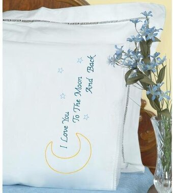 Love You to the Moon Lace Edge Pillowcases - Embroidery Kit