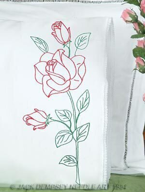 Long Stem Rose Lace Edge Pillowcases - Embroidery Kit