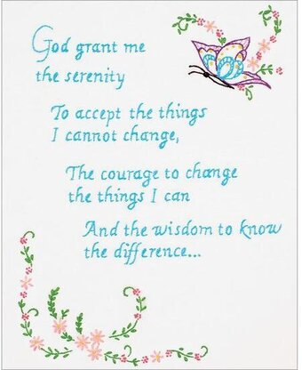 Serenity Prayer Sampler On White - Embroidery Kit