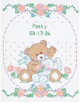 Bear & Bunny Birth Sampler - Stamped Cross Stitch Kit