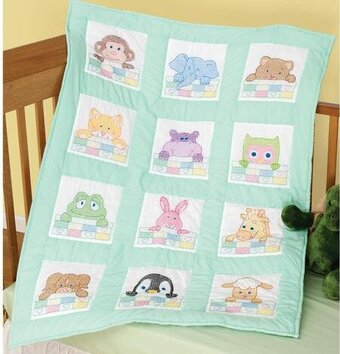 Baby Quilt Blocks.Peek A Boo Nursery Quilt Blocks Stamped Cross Stitch Kit